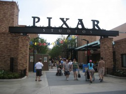 Pixar Studios sign at entrance to Pixar Place