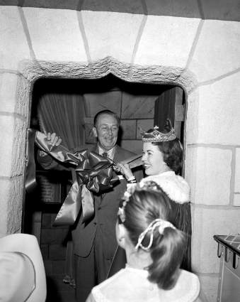 Walt Disney and Shirley Temple dedicate the Sleeping Beauty Castle Diorama