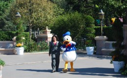 Donald Duck escorts Danielle