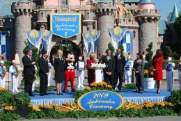 The five finalists, Ed Grier, and 2008 Ambassadors on stage with Mickey