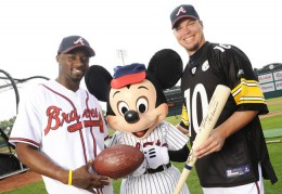 Santiono Holmes and Chipper Jones with Mickey Mouse