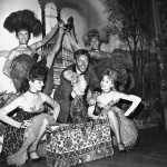 Wally Boag and some lovely ladies at Disneyland's Golden Horseshoe Revue