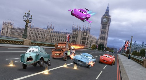 Professor Z (voice by Thomas Kretschmann), Mater (voice by Larry the Cable Guy), Holley Shiftwell (voice by Emily Mortimer), Finn McMissile (voice by Michael Caine), Lightning McQueen (voice by Owen Wilson)