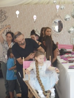 Little princesses getting their hair and makeup done