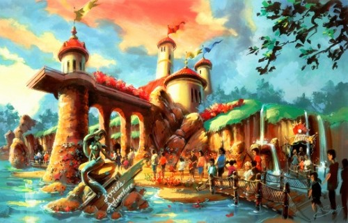 Mural for little mermaid attraction behind the scenes for Disney world mural