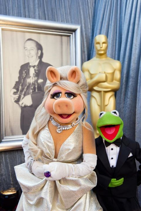"The Muppets Miss Piggy and Kermit backstage after ""Man of Muppet"" won an Oscar for Best Song"
