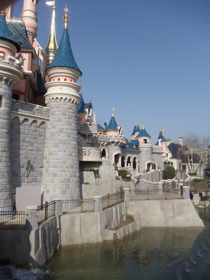 Hard to see in this picture, but many cast members were working on areas of the castle throughout the day