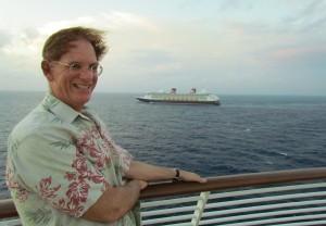 Imagineer Joe L on board the Fantasy looking at the Dream