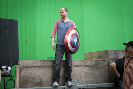 Director Joss Whedon on set of The Avengers