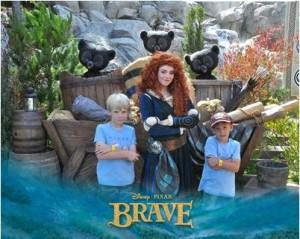 My boys and Merida strike a pose at Disney California Adventure.