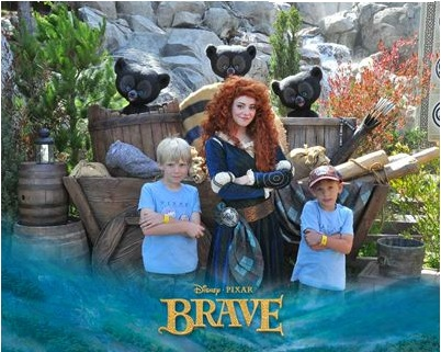 My boys and Merida strike a pose at Disney California Adventure.
