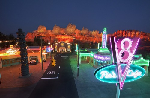 the town of Radiator Springs at night