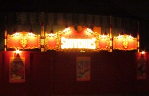 Magic Kingdom Storybook Circus Update - Tent Store Sign at night