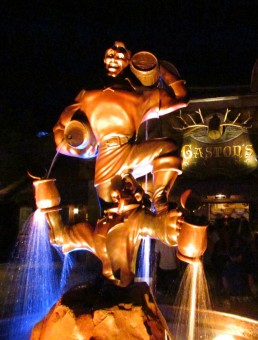 Gaston's Statue fills up the square with his magnificence, even at night.
