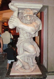 Monster holding the pillar