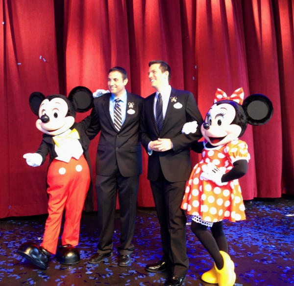 2013-2014 Walt Disney World Ambassadors Richard Tamayo and Tye Arnold, with Mickey and Minnie.