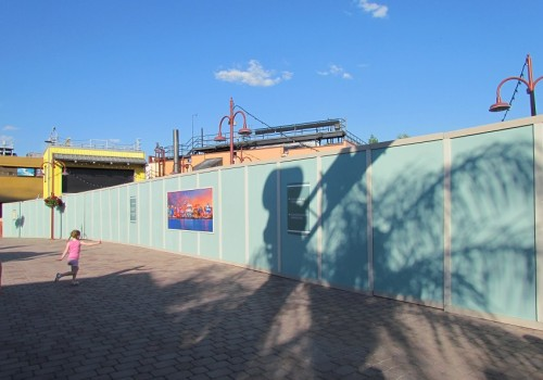 Walls have gone up in the former comedy warehouse area of pleasure island.