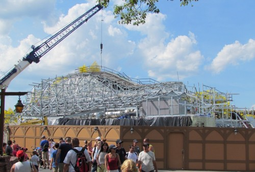 From near the Winnie the Pooh ride, the mountain is decidedly unfinished.