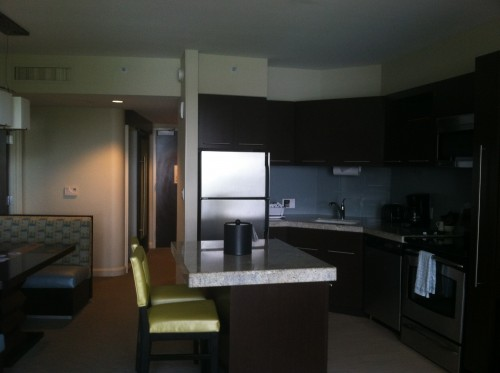 The full-kitchen in Bay Lake Tower, one of Disney's villa properties.