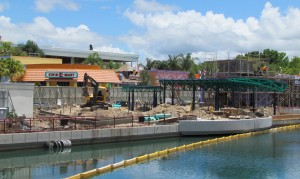 Construction on the new spinner ride and Duff Brewery is ongoing.