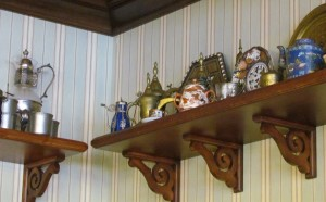 Coffee collectibles from around the world is featured on shelves
