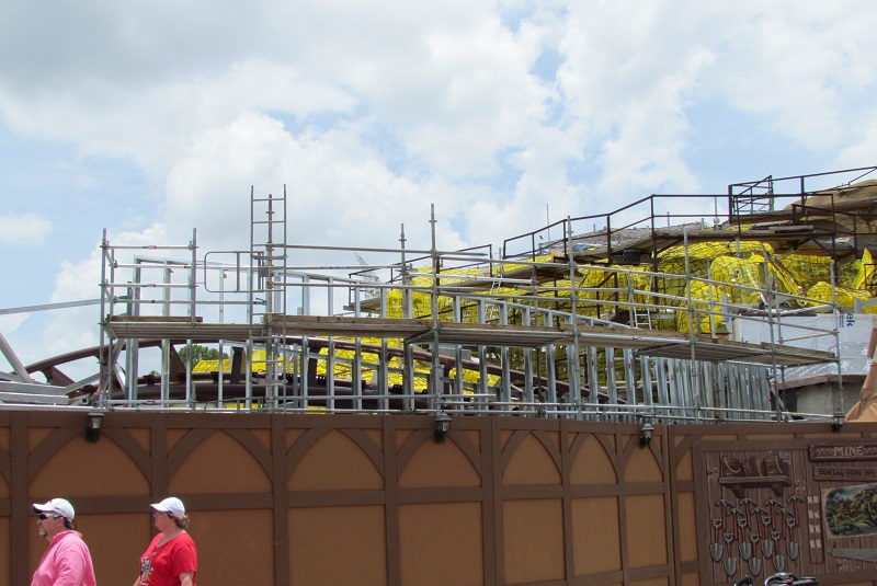 They're adding a wall to that area where the track juts out near the LIttle Mermaid meet and greet