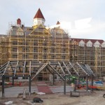 The DVC Tower for the Grand Floridian is progressing nicely with exterior walls up and some paving work already underway.