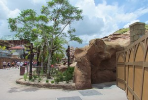 This gives us a view of some new rock work and greenery.