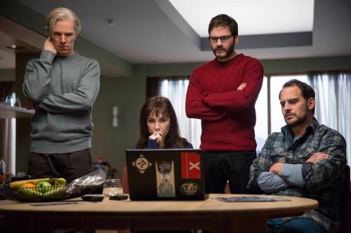 Left to right: Benedict Cumberbatch (Julian Assange), Carice van Houten (Birgitta J—nsd—ttir), Daniel BrŸhl (Daniel Domscheit-Berg) and Moritz Bleibtreu (Marcus) .