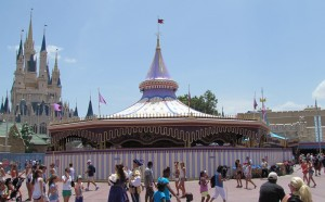 walls are up around the carousel