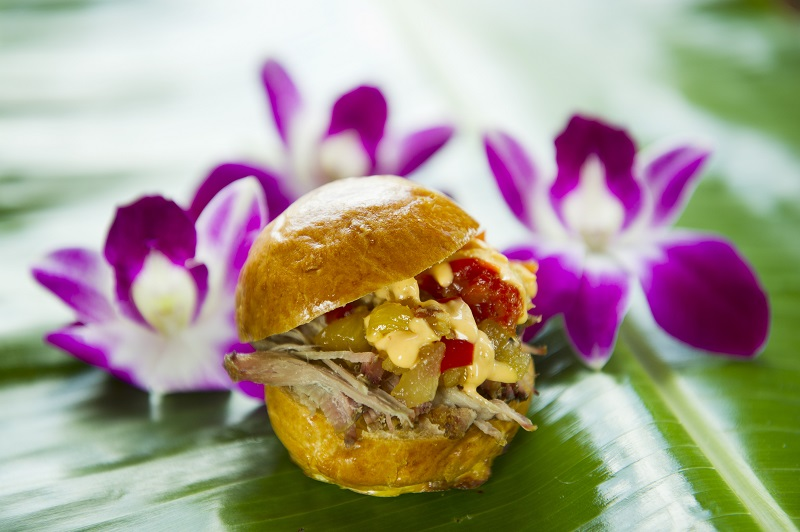 The Kalua Pork Slider (not the liqueur Kahlua but the Kalua barbecue method of cooking) returns to the Hawaii tasting marketplace