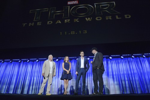 ANTHONY HOPKINS, NATALIE PORTMAN, TOM HIDDLESTON, KEVIN FEIGE (PRESIDENT, MARVEL STUDIOS)