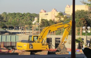 The first new building of Disney Springs is going up. Looks like restrooms if I had to guess