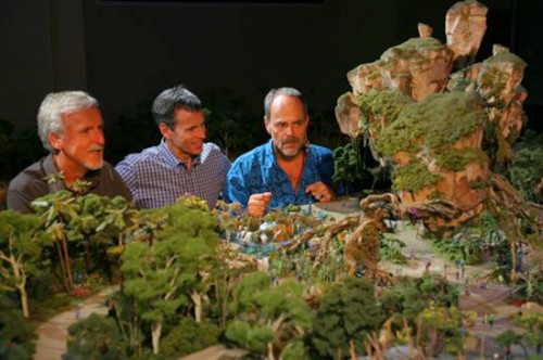 Tom Staggs between Imagineer Joe Rohde and Director James Cameron