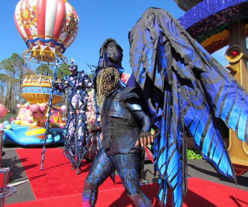 Two costumes from the Steampunk inspired Maleficent float.
