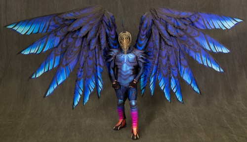 Raven features 12-foot wingspan and 3D printed gold filigree beak.