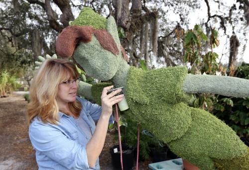 Peter Pan Topiary Preps for Festival