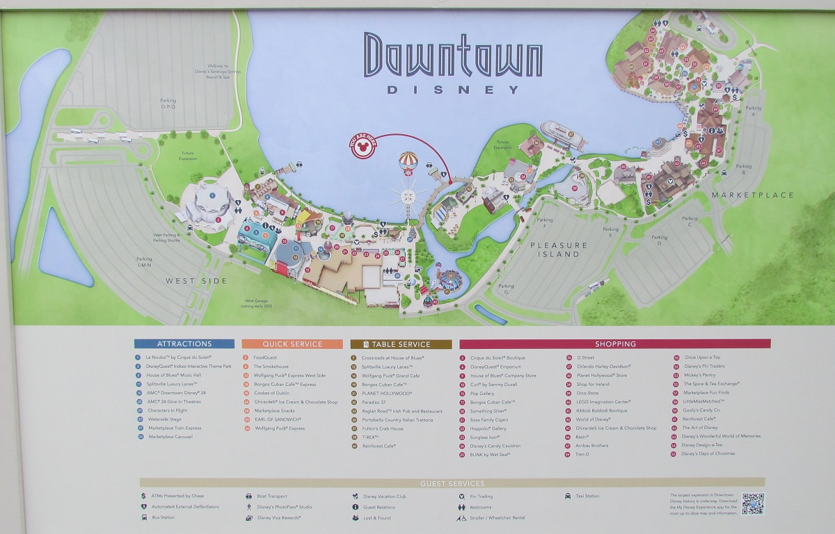 A new map for Downtown Disney shows construction, new water vehicle docks, and future expansion areas.