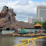 Looking back to the Rainforest cafe. No more boat docks to the resorts either