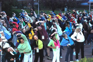 Cast Members warm up as part of 2011 fitness training at Walt Disney World
