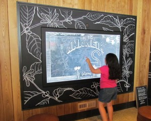 The interactive chalk-photo wall that's connected to Anaheim