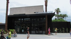A very stark facade for the newest coffee shop in Downtown Disney