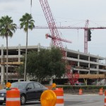The on and off ramps for the first parking garage are now going up