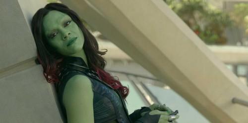 Applying the makeup for Gamora took Zoe Saldana three  hours each day