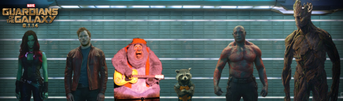 Most don't realize there were originally six Guardians, but Big Al was always singing country, which didn't fit with the Director's vision for the film and was cut from the film except for one elbow, which you can see briefly in the opening scene in the Milano just behind Peter Quill.