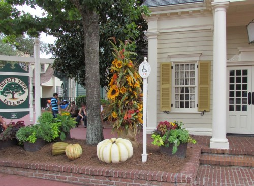Fall decor in Liberty Square. It's actually a bit light this year.