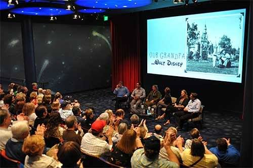 "Disney author and historian Jeff Kurtti (far left) served as moderator of the ""Our Grandpa, Walt Disney"" panel. Photo courtesy of the Walt Disney Family Foundation"