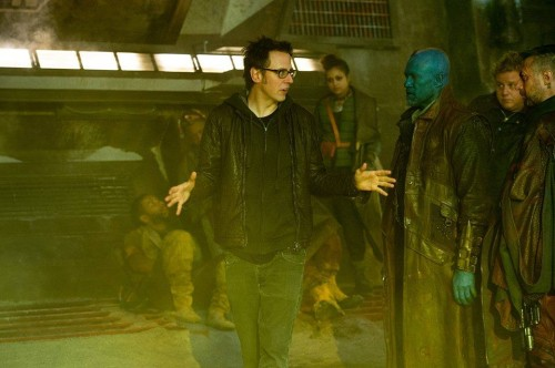 Director James Gunn on set