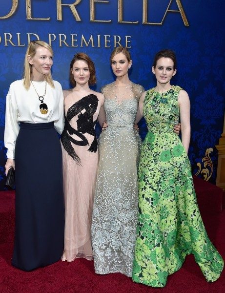 Actresses Cate Blanchett, Holliday Grainger, Lily James and Sophie McShera  (Photo by Alberto E. Rodriguez/Getty Images for Disney)