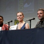 (L-R) Actors John Boyega, Daisy Ridley and Oscar Isaac at the Hall H Panel for `Star Wars: The Force Awakens`